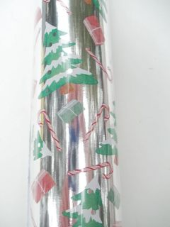"Punch Studio Silver Christmas Trees Foil Wrapping Paper Gift Wrap 30"" x 10ft"