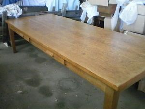 Very Nice 4' x 10' Heavy Duty Oak Library Table w 7 Captains Chairs