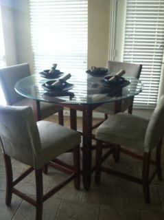 5 Piece Dining Set Glass Top Table and 4 Tan Chairs