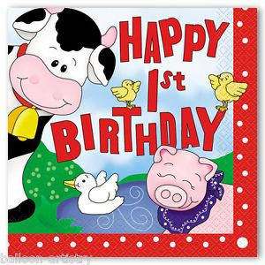 16 Farm Farmyard Friends Happy 1st Birthday Party Disposable 33cm Paper Napkins