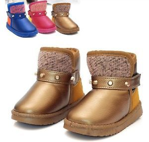 New Baby Toddler Girls Boys Kids Childrens Shoes Snow Boots Warm Booties Winter
