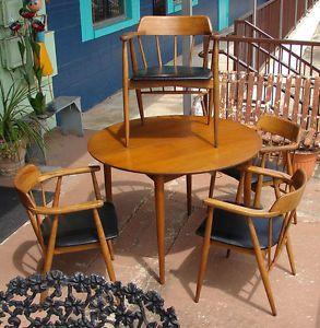 Mid Century Round Dining Table and Four Spindle Back Chairs 1958 Original Seats