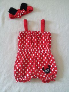 Minnie Mouse Baby Girl Red Pink Polka Dots Romper w Headband Birthday Outfit