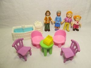 Fisher Price Sweet Streets Lot 4 People Tub Table 4 Chairs Cash Register