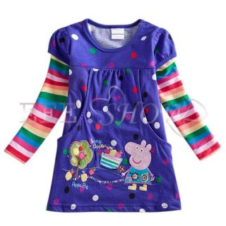Purple Polka Dots Peppa Pig Girls Rainbow Long Sleeve Top Dress T Shirt 18M 6