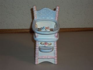 Vtg Ceramic Napcoware Pink Blue Baby High Chair Planter Applied Roses C5554