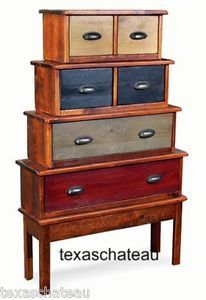 Primitive Country Style Decor Stacking Trunks Chest Drawers Cabinet Side Table
