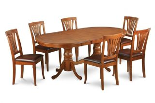 9pc Sqare Duinette Kitchen Dining Table Set 8 Faux Leather Chairs Seat in Brown