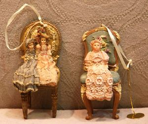 2 Kurt Adler Louis Nichole Victorian Chairs and Baby Doll Christmas Ornament