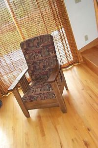 Antique Arts Crafts Oak Morris Chair Original Royal Easy Chair Co Red Leather