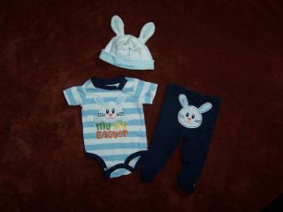 My First Easter Outfit for Baby Boy Free Easter Ears Cap Sz 0 3 Months