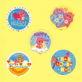 15 Care Bears Wonderheart Large Stickers Party Favor
