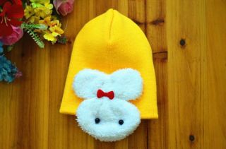 Yellow Unisex Cute Baby Toddler Knit Crochet Hats Beanie Bunny Earflap Caps