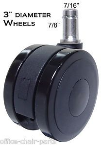 "Soft Wheel Casters Hardwood Floor Office Chairs Heavy Duty 3"" Diam Wheel 5pc Set"