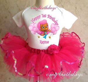 Bubble Guppies Molly Birthday Girl 1st 2nd Shirt Pink Tutu Set Outfit 6 12 18 24