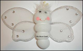 "8"" Smiley White Butterfly Nursery Baby Shower Decoration Girls Room Hanging"