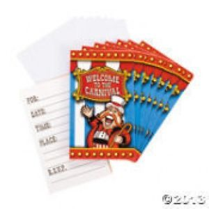 8 Circus Carnival Invitations Cards with Envelopes Kids Birthday Party Invites