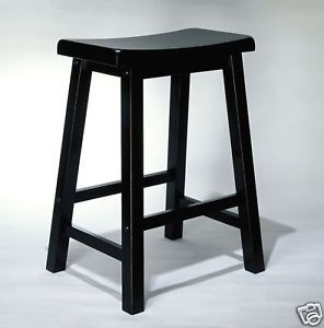 "Powell Antique Black Solid Wood Wood 24"" Kitchen Bar Stools Chairs Furniture"