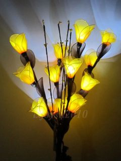 13 White LED String Lights Yellow Carmine Nylon Flower Artwork for Wedding
