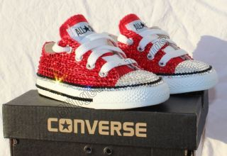 Baby Bling Red Converse Swarovski Crystals Rhinestones Size 5