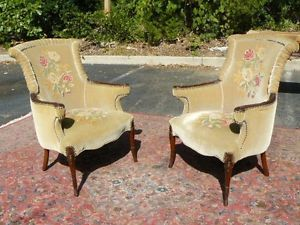 RARE Pair Antique French Carved Mahogany Art Deco Mohair Fireside Chairs