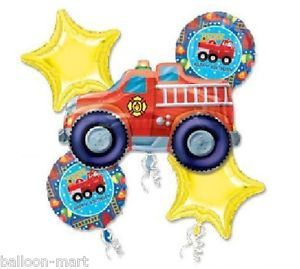 Fire Engine Happy Birthday Balloons Set Red Truck Party Supplies Decorations 1st