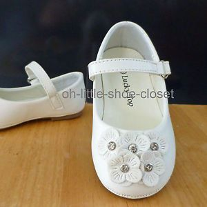 White Baby Infant Toddler Dress Leather Walking Girl's Shoes Size 4 5 6 7 8