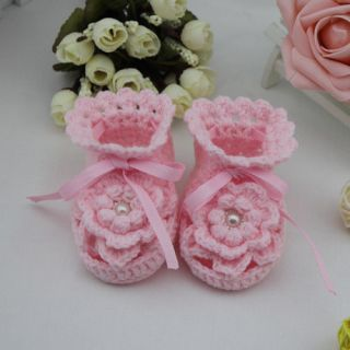 1 Handmade Crochet Baby Shoes Toddler Soft Infant Booties Pink Flower 10cm Girl