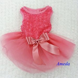 Coral Pink Rosettes Elegant Rose Wedding Tutu Small Dog Clothes Party Dress XS L