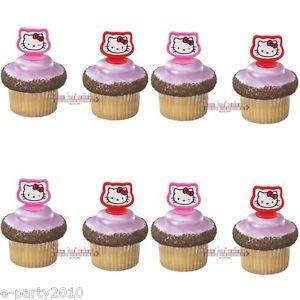 8 Hello Kitty Wilton Cupcake Rings Birthday Party Supplies Favors Bows Pink