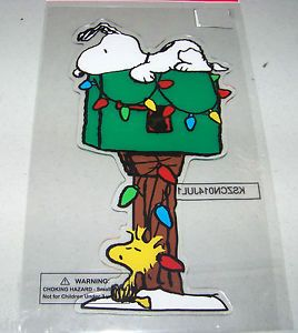 "Christmas Peanuts Snoopy w Woodstock ""Mailbox"" Window Gel Cling New"