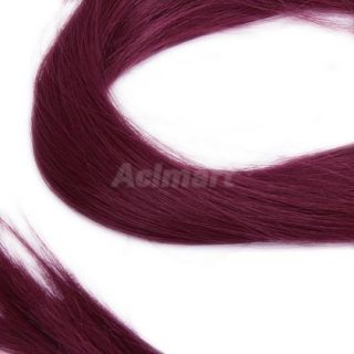 5X Long Wine Red Hair Extensions Straight Hairpieces Clip on for Party Cosplay
