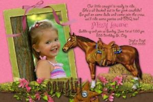 Cowgirl Cow Girl Horse Western Birthday Party Invitations Cards Pink Brown x 2