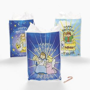 "12 ""Happy Birthday Jesus"" Manger Goody Bags Christmas Party Favors"