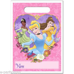 8 Disney Princess Plastic Treat Sacks Birthday Party Supplies Loot Bags