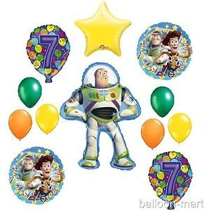 7th Birthday Buzz Lightyear Balloons Party Supplies Disney Toy Story Seventh 7