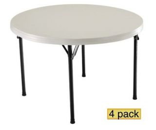 "4 New 42968 Lifetime 46"" 4' Round Almond Folding Tables"