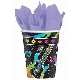 Neon Doodle Peace Party Cups x 8 Party Supplies