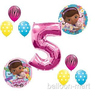 5th Birthday Doc McStuffins Balloons Girls Party Supplies Hot Pink Zebra Fifth