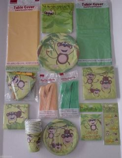 Monkey Party Supplies Pick Your Own Party Pack Great for Birthdays Baby Shower