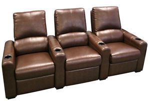 Seatcraft Eros Home Theater Seating 3 Brown Seats Push Back Recliner Chairs