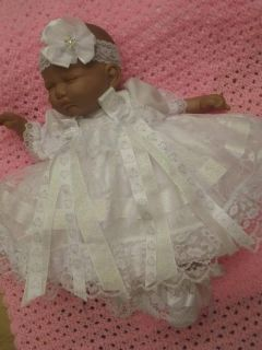 "Dream Newborn Baby Girls White Lace Dress HBD17 19"" Reborn Dolls"