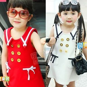 Double Breasted Lovey Baby Girls Kids Sailor Style Mini Dress Tops Pocket 1LD