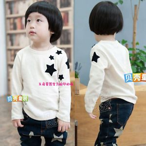 New Korean Baby Toddler Boys Girl Kids Long Sleeve Cute Star T Shirt Top Tee 1DH