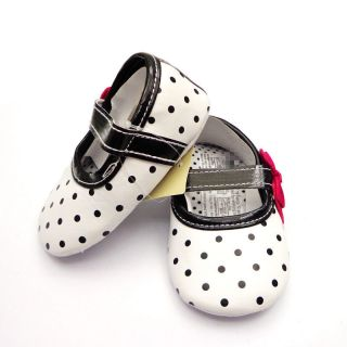 Y075 Cute Beautiful Dot Pattern Red Bow PU Infant Baby Toddler Shoes New Arrival