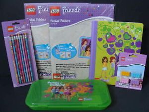 New Lego Friends School Supply Lot Green Pencil Case 4 Folders Erasers Storage