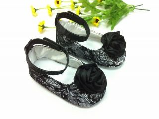 New Guess Soft Sole Baby Girl Black Lace Satin Bow Crib Shoes Age 3 12 Months