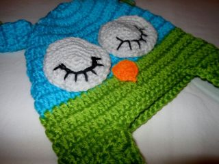 Boy Girl Infant Toddlers New Blue Green Crochet Owl Hat Beanie