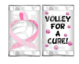 Breast Cancer Volleyball Volley for A Cure Mini Candy Bar Wrappers Party Favor