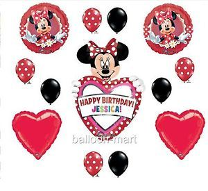 Balloons Disney Mad Minnie Mouse Red Black Polka Dot Birthday Party Supplies
